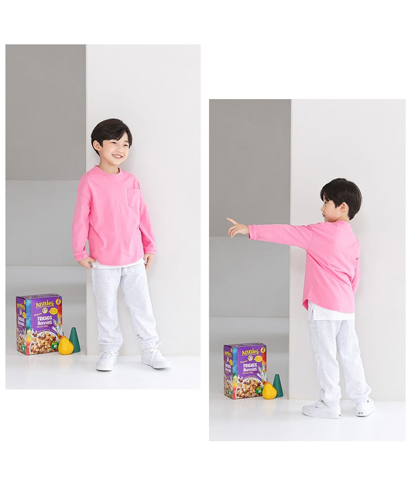 [90cm-135cm]シングルポケット長袖Tシャツ