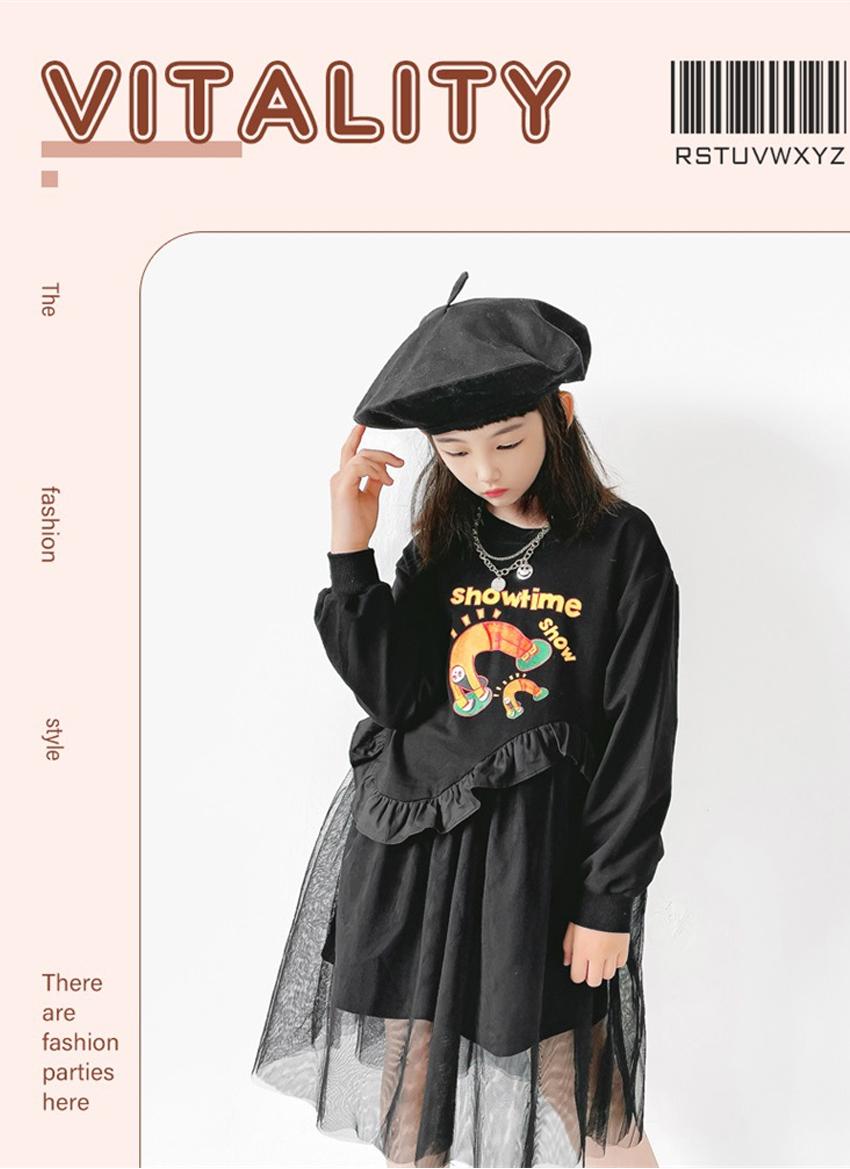 [110cm-160cm]チュールスカート 長袖ワンピース