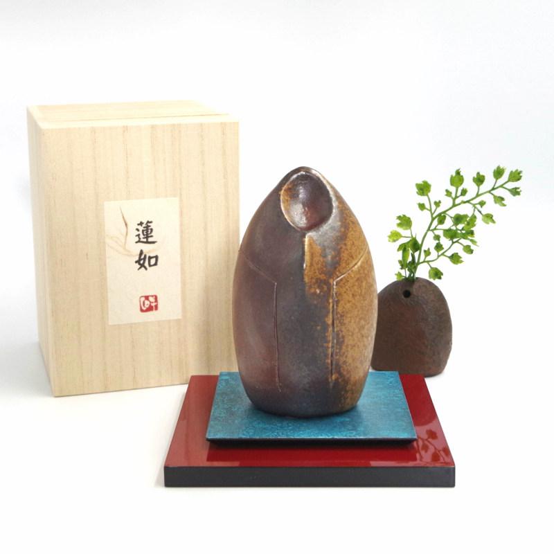 手元供養用ミニ骨壷 備前焼オブジェタイプの分骨壷 「蓮如」敷板・一輪挿し付