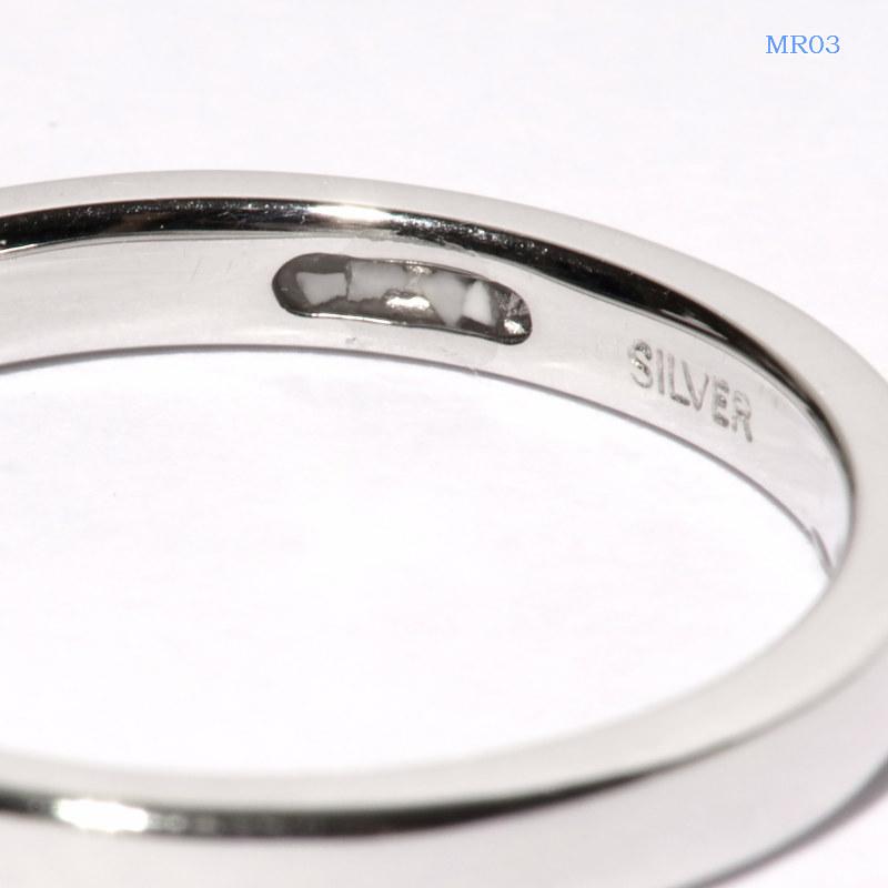 セミオーダーメモリアルリング【MR03/K10WG ホワイトゴールド】指輪,遺骨リング,完全防水