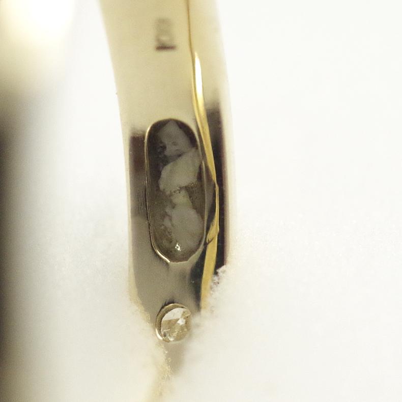 メモリアルリングMR22 地金:K18YG (18Kイエローゴールド) 〜遺骨リング ,完全防水