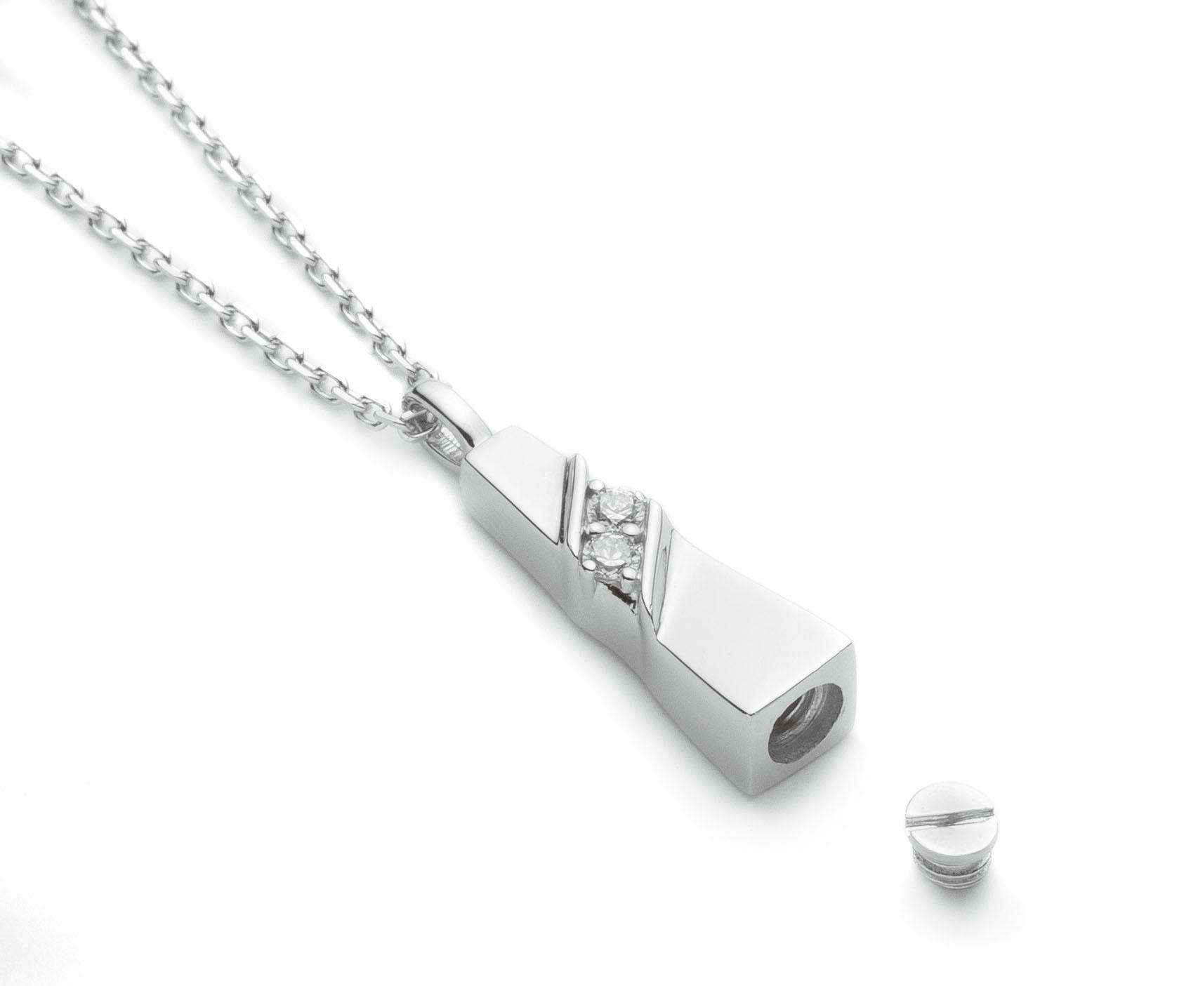 ソウルジュエリー(遺骨ペンダント)ノーブル SILVER925(シルバー製)/ジルコニア2石/40cmチェーン付属