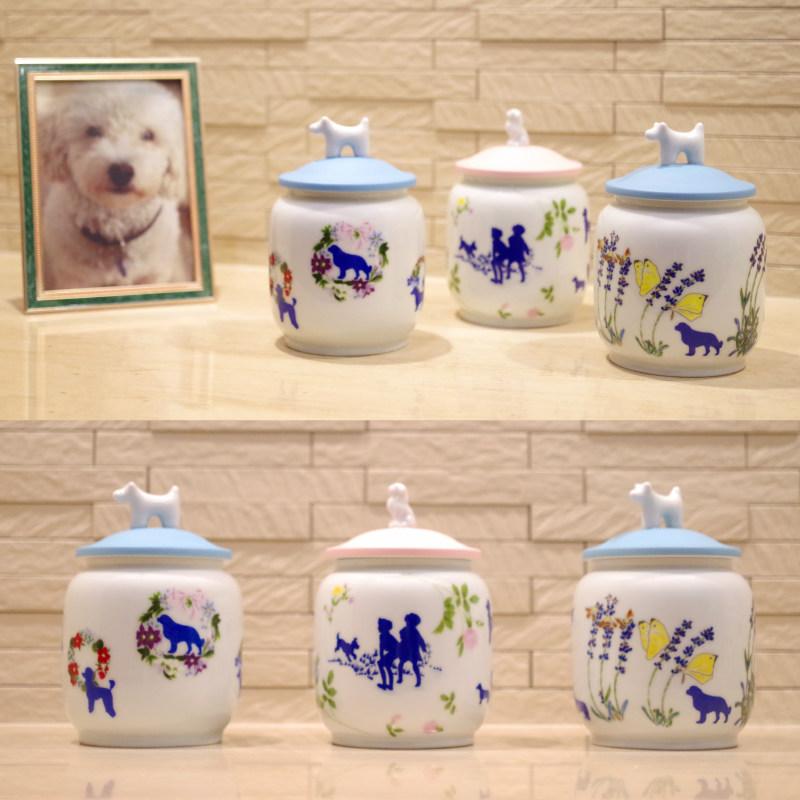 愛犬用3寸 納骨袋・名入シール・蓋固定材付属 ペット骨壷 [DOG 花の首飾り] 深川製磁が造るペット用骨壺 3寸 愛犬用絵柄
