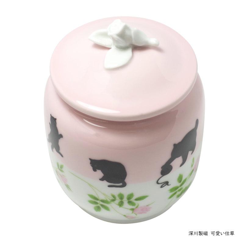 ペット骨壷 [Cat かわいい仕草] 深川製磁が造るペット用骨壺 3寸 愛猫用絵柄