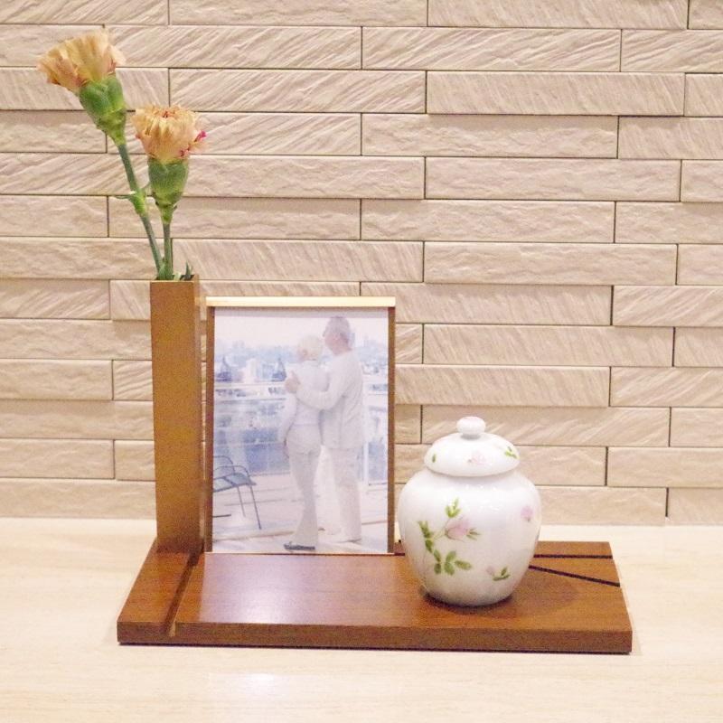 ミニ仏壇・ミニ骨壷用置台・手元供養用飾り台 ソウルステージプレッソ(ウォールナット)フォトタイプ