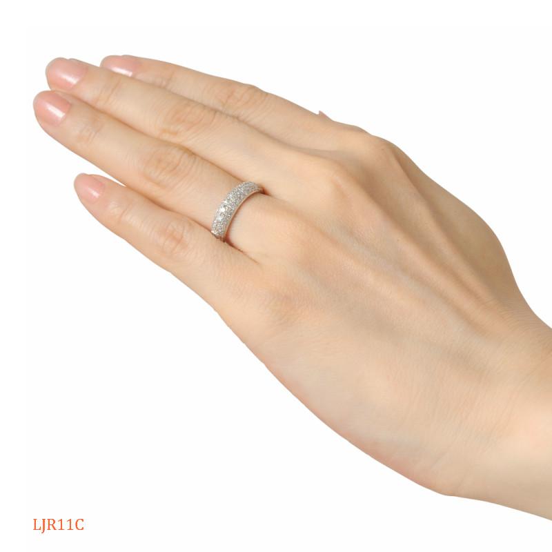 [完全防水]  遺骨を納める指輪 メモリアルリング LJR11C(ダイヤモンドパヴェ) [素材:K18ピンクゴールド]