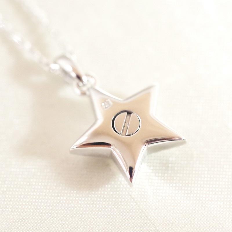 ソウルジュエリー [遺骨を入れるペンダント] スター 星 SILVER925×ダイヤモンド(誕生石での制作可)