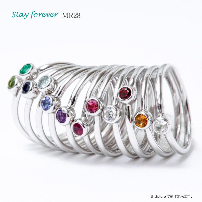 セミオーダーメモリアルリング【MR28/K10WG×ダイヤモンド(3mm)または誕生石】指輪,遺骨リング