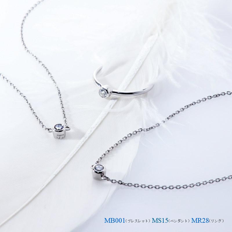 メモリアルジュエリー ブレスレット MB001 【完全防水樹脂埋封ジュエリー】 プラチナ×ダイヤモンド(誕生石)