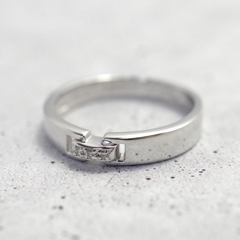 メモリアルリングMR14 地金:K10WG (10Kホワイトゴールド) 〜遺骨リング ,完全防水の指輪〜