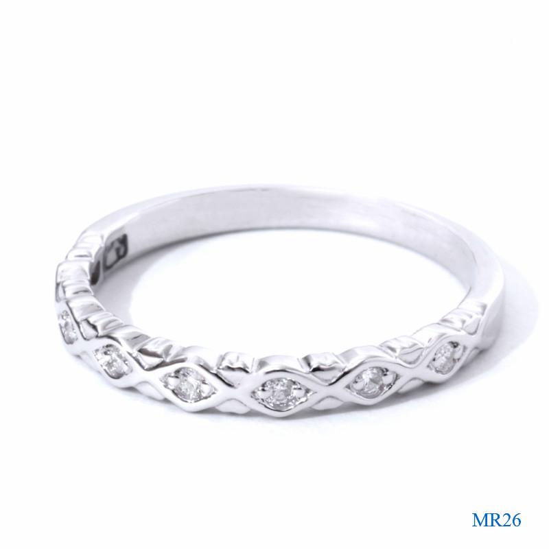 セミオーダーメモリアルリング【MR26/K18WG ホワイトゴールド×ダイヤモンド】指輪,遺骨リング