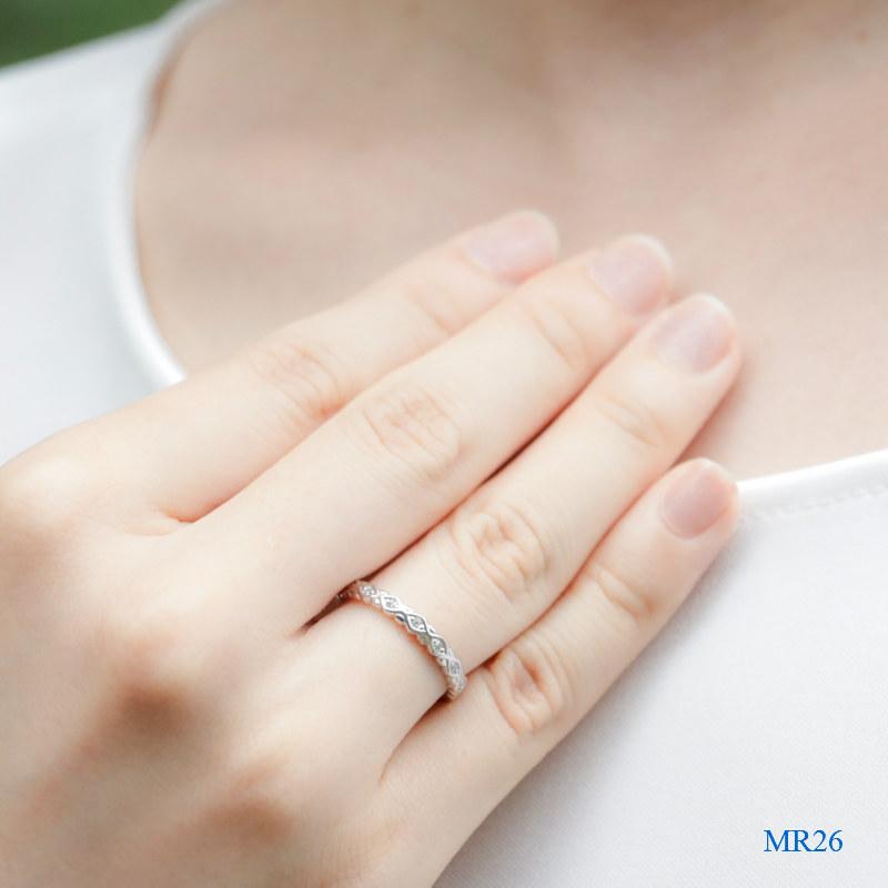 セミオーダーメモリアルリング【MR26/K18WG×ダイヤモンド】指輪,遺骨
