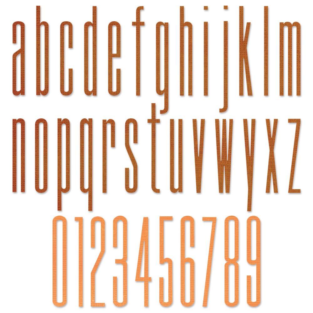 Sizzix-665207 Alphanumeric Stretch Lower & Numbers by Tim Holtz