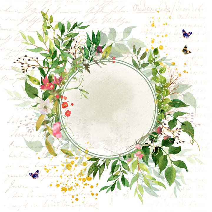 MP-60824  Enchanted Simple Style 12x12 Green Wreath