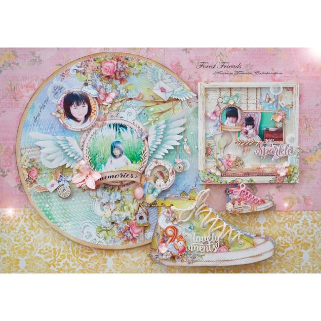 Asuka Studioプロデュ—ス企画☆Asuka×Tomokoコラボデザイン!キット限定コラボペーパー&オリジナルテンプレート付き『Forest Friends』4プロジェクト講座