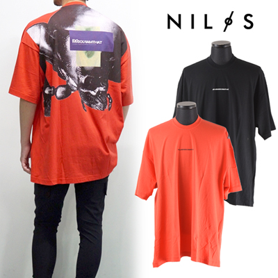 NILS(ニルズ) COTTON JERSEY OVER SIZE BACK PRINT T-SHIRT