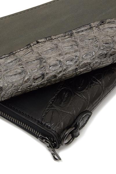 ISAMUKATAYAMA BACKLASH (イサムカタヤマバックラッシュ) GUIDIオイルカーフ+オイルクロコ / クロコ墨染め ラウンド財布