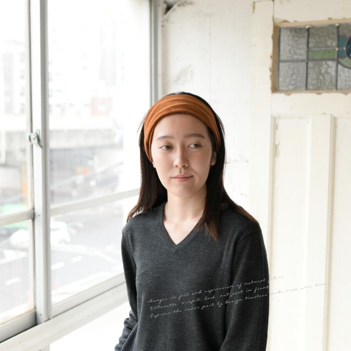 OCACA オカカ<br>ベルベットとリネンを組み合わせたヘアバンド ターバン  日本製 ハンドメイド <br>(02OCC-BULBO)(202050)