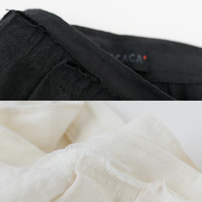 OCACA オカカ<br>洗いこんだベルギーリネンのタックラップスカート<ZUCCA><br>【AP】(01OCC-ZUCCA)(2020101)
