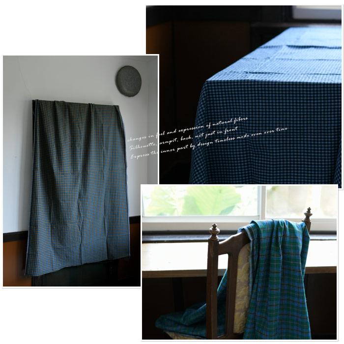 miiThaaii ミーターイー<br>グリーン系 マドラスチェックコットン生地<ルンギ ファブリック>(185×115cm)<br>《メール便不可》【ZK】(ASMII-FAB801_GR)(2020313)