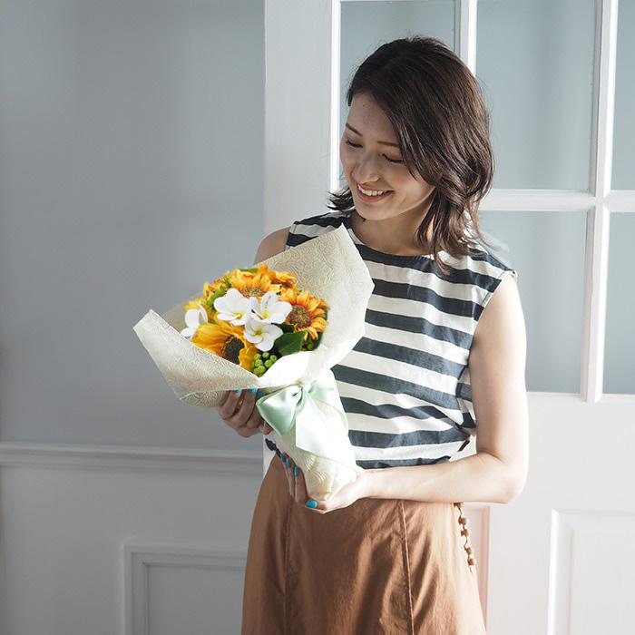 花束と花瓶のセット【誕生日・記念日・プロポーズ】メッセージフラワーひまわり