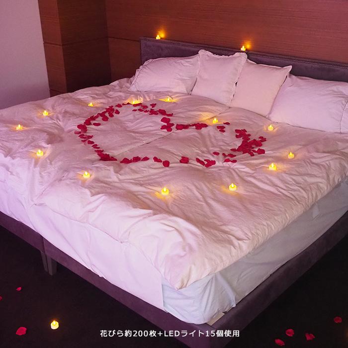 お家・ホテルで演出【サプライズ演出セット】プレミアム(バラの花びら400枚+LEDライト30個)