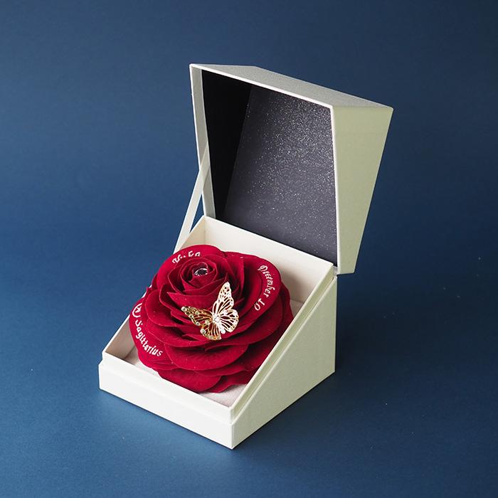 【2月生まれの誕生日プレゼント】誕生石ローズボックス赤バラ(アメシスト)