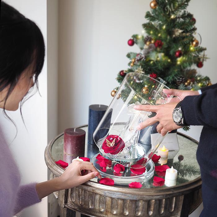 【プロポーズ推奨・赤いバラのシンデレラのガラスの靴】プリンセスローズ(2021レースモデル)