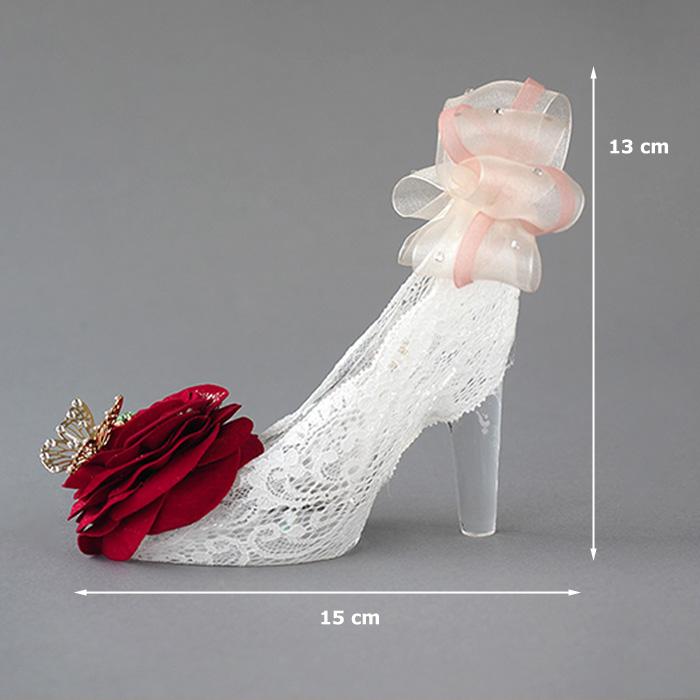 誕生石付き赤いバラのガラスの靴 プリンセスローズ