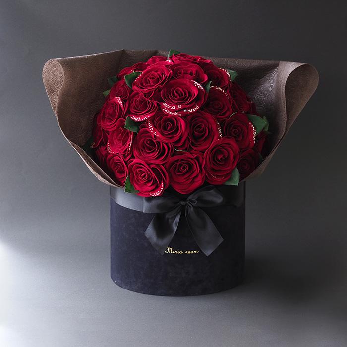 無料特典あり【豪華50本の赤バラ花束】ダイヤモンドローズボックスフラワーTiAmo(ティアモ)