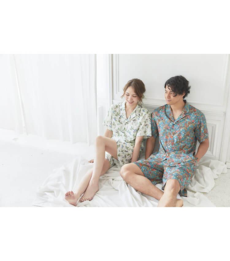 Foo Tokyo(フートウキョウ)【ボトムス】ハーフ丈花柄コットンパジャマ スズラン柄 ホワイト