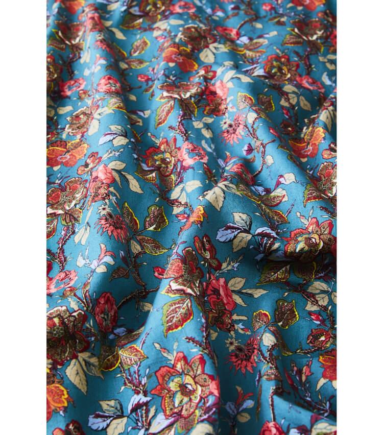 Foo Tokyo(フートウキョウ)【トップス】ハーフ丈花柄コットンパジャマ 無名華柄 ターコイズブルー