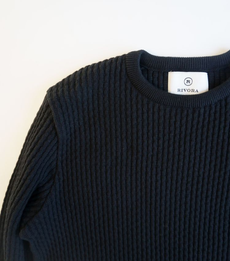 RIVORA(リヴォラ)CHAIN CABLE Round Neck Summer Knit