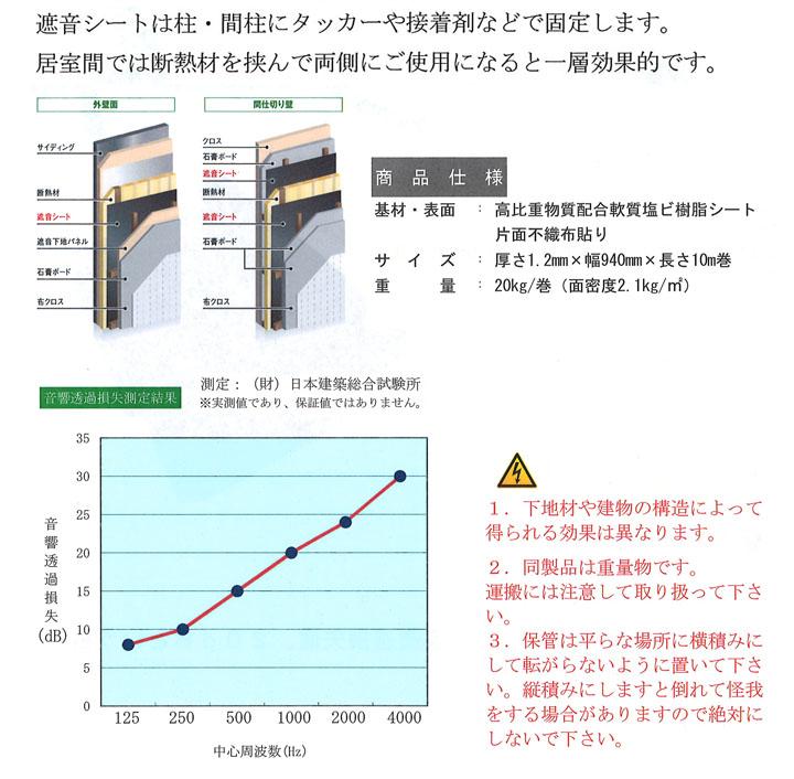 遮音シート(TS-12 厚み1.2mmX幅940mmX長さ10m  5本)