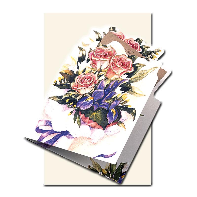 多目的カード 【バラの花束をかたどった】 �652 【金箔押し】