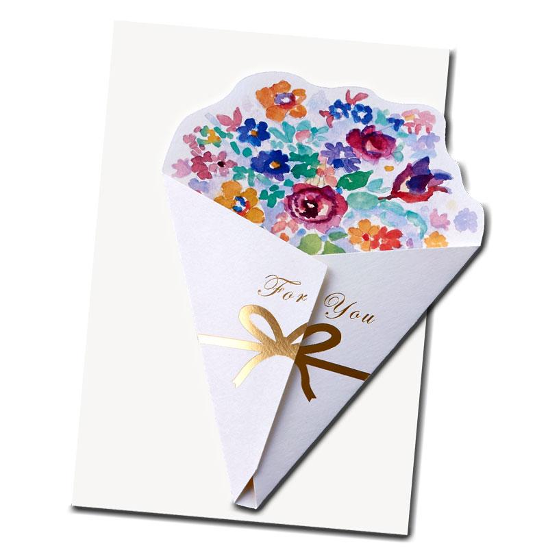 多目的カード 【エレガントな花束】 �671 【金箔】