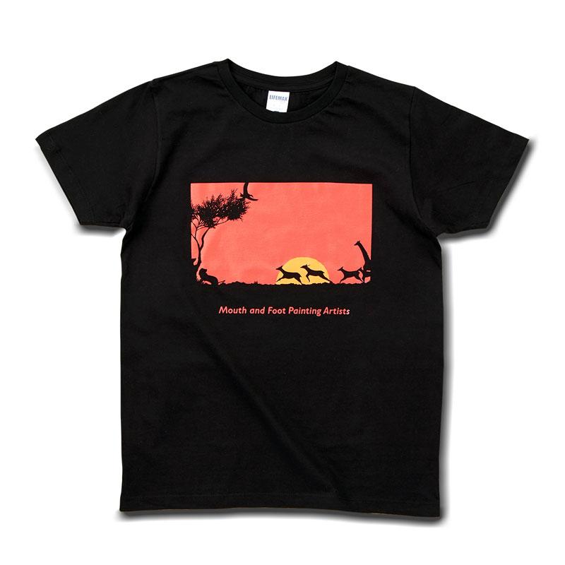 Tシャツ ブラック 【サバンナの夕日】