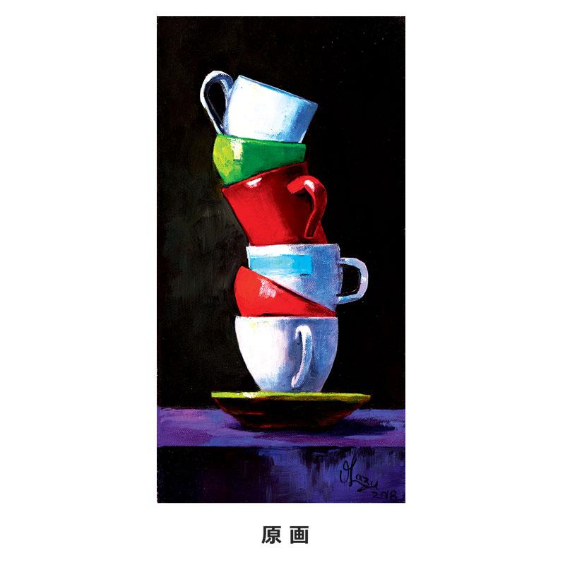 アートTシャツ グレー 【色とりどりのカップ】
