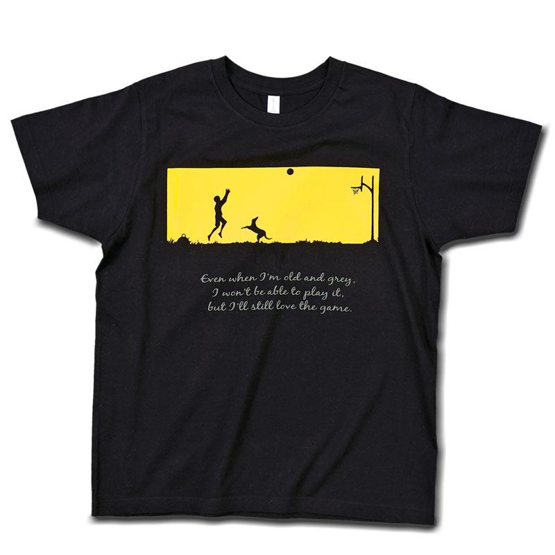 Tシャツ ブラック 【バスケする少年と犬】