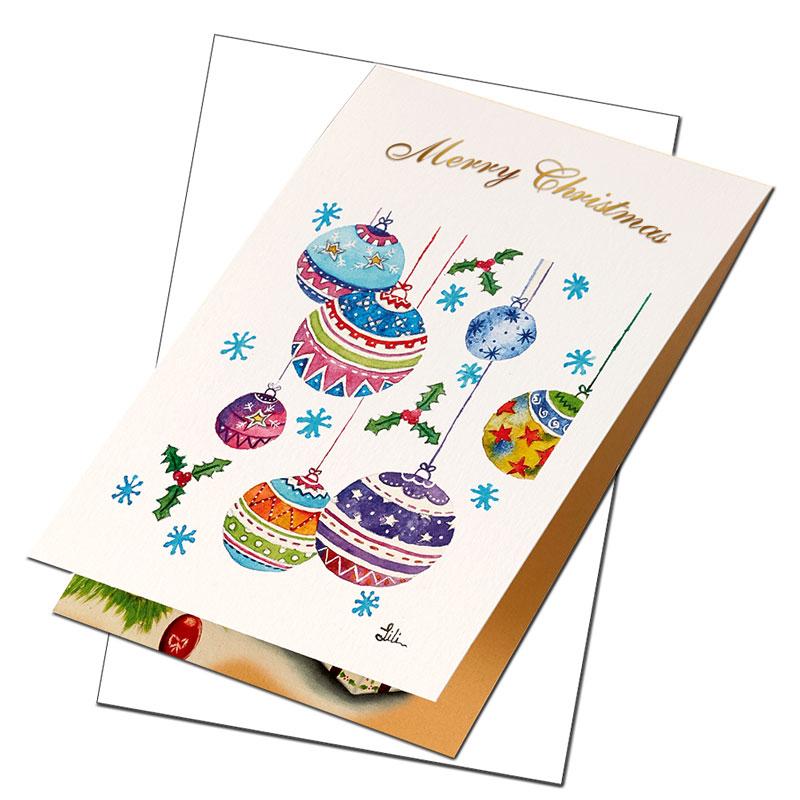 クリスマスカード 【可愛いワンちゃんの贈り物】�649【金箔押し】