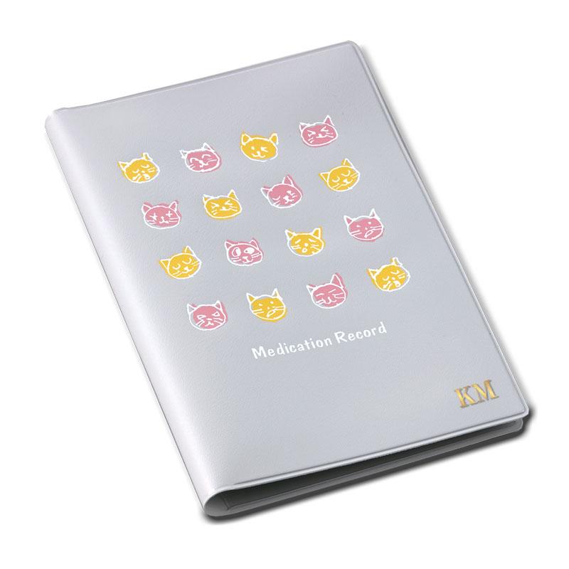 お薬手帳カバー イニシアル入り 【ユニークなネコの笑顔】 �793