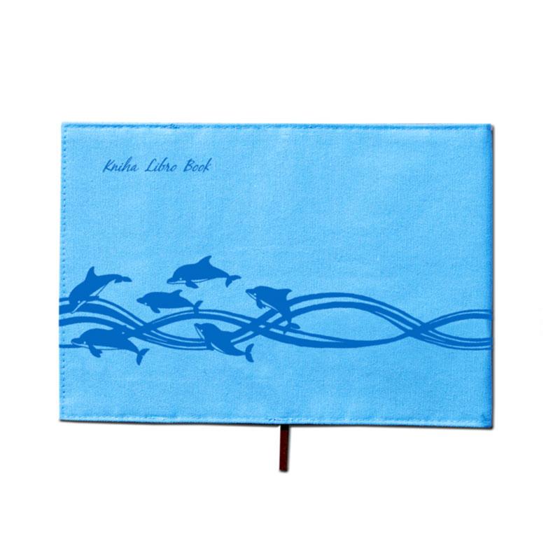 布のブックカバー イニシアル入り 【躍動感あふれるイルカのデザイン】 �874