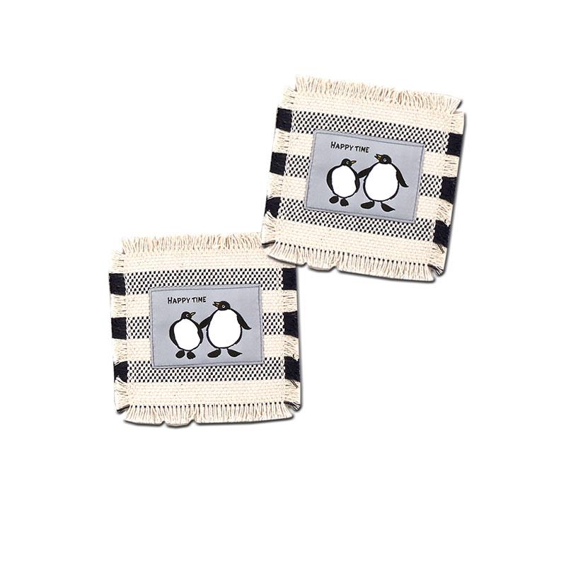 帆布のコースター 【ボーダー柄にペンギンの織刺繍】 �390