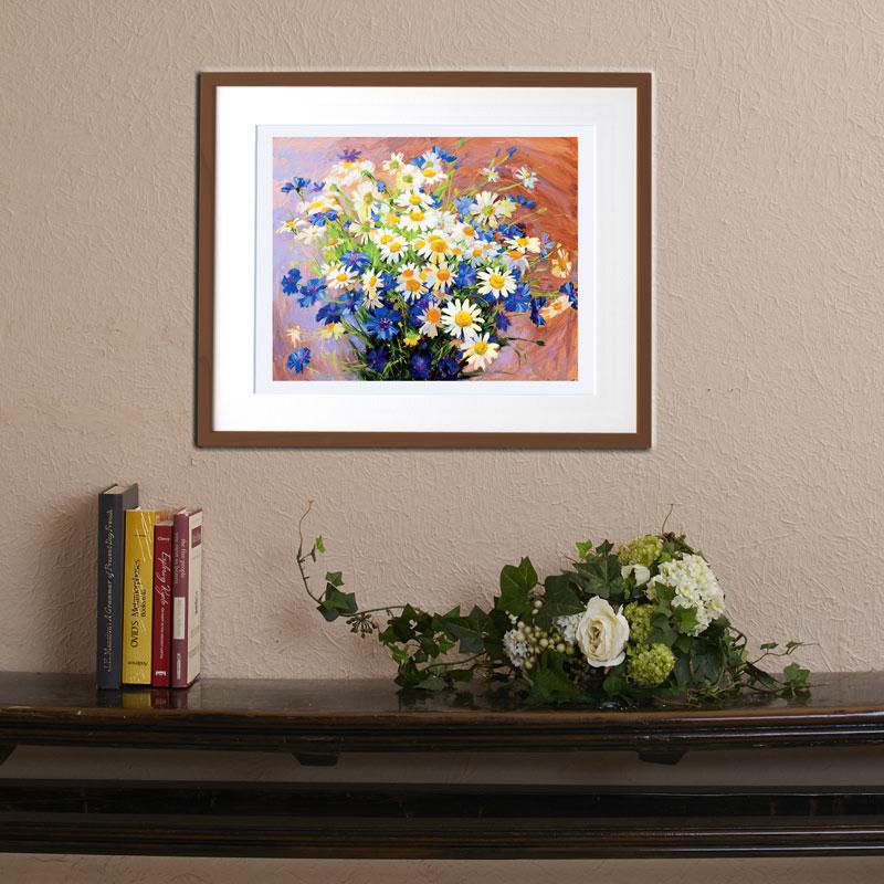 複製画 【ひな菊と青い花】 �F120
