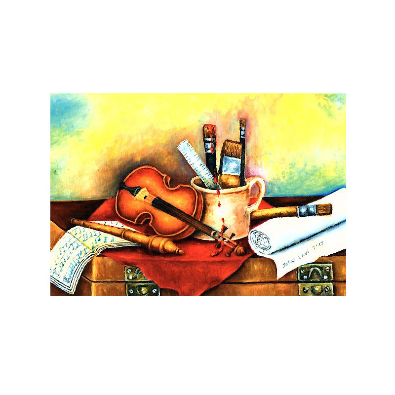 絵葉書 【バイオリンと絵具】 �341