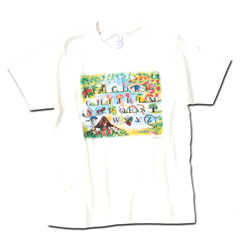 アートTシャツ オフホワイト 【アルファベットのイラスト】