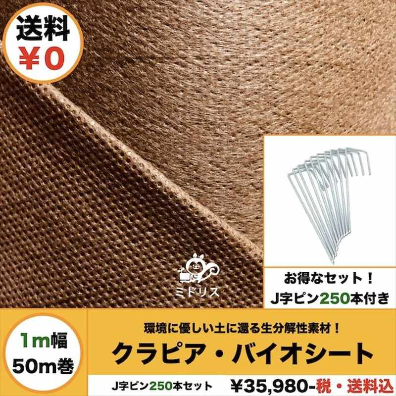 50平米分セット バイオシート クラピア植栽用(50m2)+ J字型ピンのセット(250本) 1m幅50m巻 土に還るシート 防草シート アンカーピン