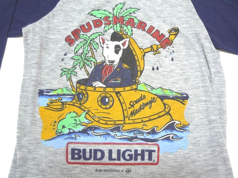 80's BUD LIGHT 七分袖 紺×グレー