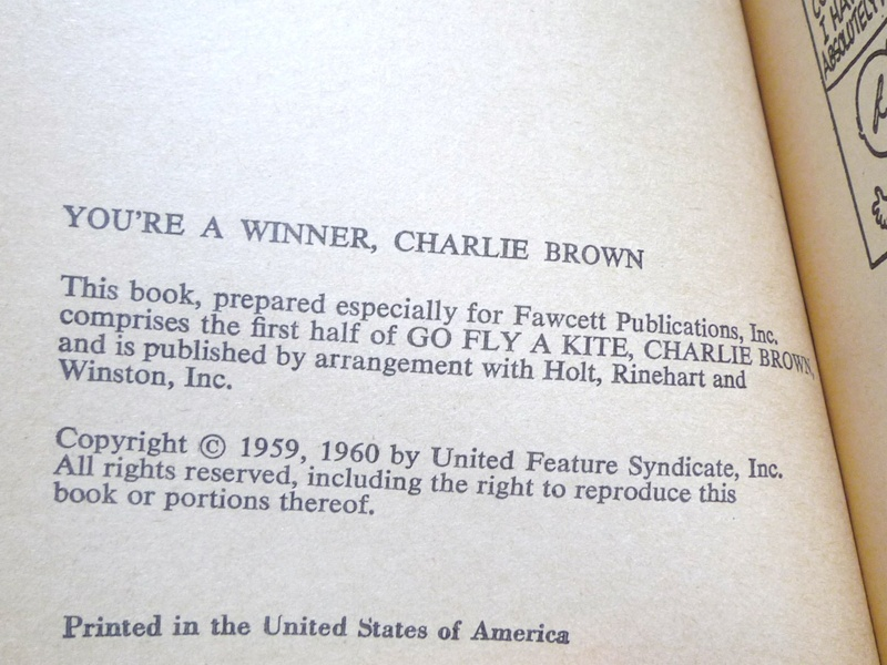 60〜70's スヌーピー 本 YOU'RE A WINNER CHARLIE BROWN!