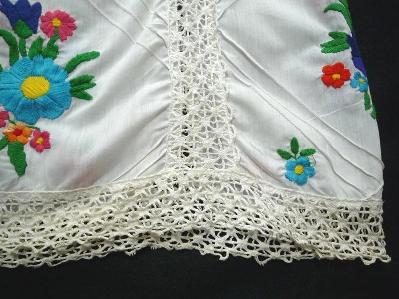 70's 花柄刺繍 ヒッピーチュニック